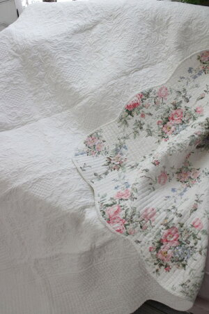 トリアノンフラワーキルト(200×250)リバーシブルキルトラグキルティングスローキルティングマルチカバーキルティングラグ敷物布製フレンチカントリーシャビーシック綿100%