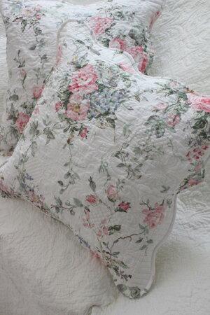 トリアノンフラワーキルトクッションカバー45cm角キルティング布製アンティーク風フレンチカントリーシャビーシック綿100%