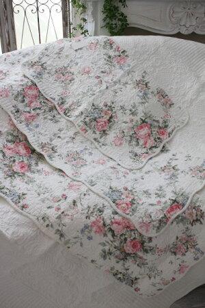 トリアノンフラワーキルトマット(50×80cm)キッチンマットキルティング布製アンティーク風フレンチカントリーシャビーシック綿100%