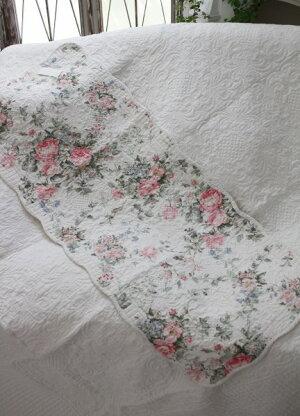 トリアノンフラワーキルトマット(50×120cm)キッチンマットキルティング布製アンティーク風フレンチカントリーシャビーシック綿100%