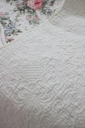 トリアノンフラワーキルトマット(50×150cm)キッチンマットキルティング布製アンティーク風フレンチカントリーシャビーシック綿100%