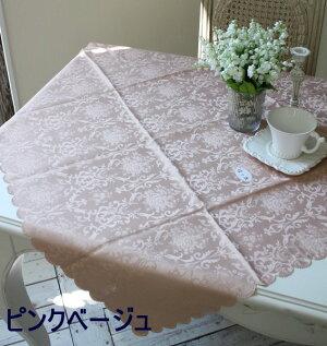 テーブルクロスダマスクローズ(100×100スカラップ)ジャガードフリークロストップクロス撥水100×100薔薇ネコポス便OK