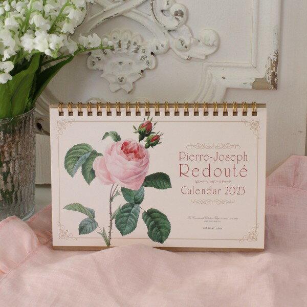 ★SALE・30★ 2018年 ルドゥーテ 卓上カレンダー 薔薇 平成30年度 ネコポス可 日本製
