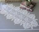 フィブランシェシリーズ(テーブルランナー 35×76cm)レースドイリー 布製 ホワイト 敷物 テーブルセンター アンティ…