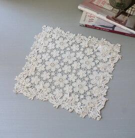 アンティークフルールシリーズ(ドイリー25cm角)レースドイリー 布製 ホワイト 敷物 アンティーク アンティーク風 ヨーロピアン かわいい 姫系