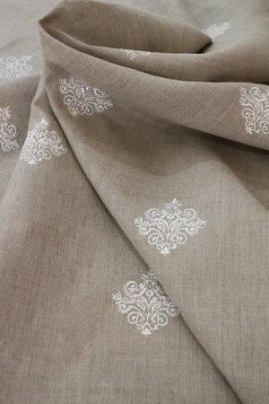 フランス製STOF社フレンチリネン麻100%ベージュ×ダマスク刺繍輸入生地カーテン生地テーブルクロスファブリックカルトナージュカット販売