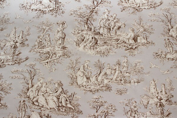 Made In France STOF, Toile De Jouy Pattern Light Gray Of Imported Fabric  Curtain Fabric Tablecloth Fabric Japanese Cut Sales
