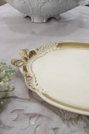イタリア製のリボントレー(樹脂製・Sサイズ)お盆ディスプレイトレーシャビーシック輸入雑貨アンティーク風雑貨フレンチカントリー姫系おしゃれ