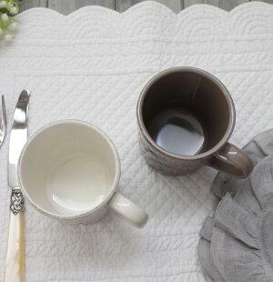 ダマスク柄アンティークな輸入食器マグカップマグ(オフホワイト・グレージュ)ポルトガル製おしゃれシャビーシックアンティーク風洋食器