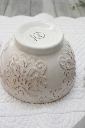 ダマスク柄アンティークな輸入食器ボウルカフェオレボウル(オフホワイト・グレージュ)ポルトガル製おしゃれシャビーシックアンティーク風洋食器