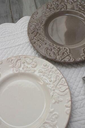 ダマスク柄アンティークな輸入食器デザートプレートデザート皿(オフホワイト・グレージュ)ポルトガル製おしゃれシャビーシックアンティーク風洋食器
