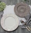 ダマスク柄 アンティークな輸入食器 ディナープレート ディナー皿(オフホワイト・グレージュ)ポルトガル製 おしゃれ シャビーシック …