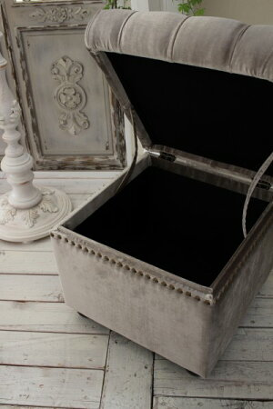 収納付きオットマン(ベルベットグレー)フレンチグレーオットマンスツール輸入家具アンティーク風シャビーシックフレンチカントリーアンティーク家具