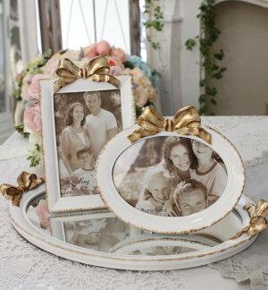 リボンモチーフのフォトフレーム(オーバル・レクト)写真立てシャビーシックフレンチカントリーアンティーク雑貨輸入雑貨antiqueshabbychic