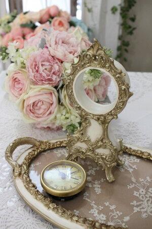 ロココ調のアイボリーゴールド置時計クオーツ時計テーブルクロック輸入雑貨アンティーク調アンティーク雑貨antiqueお洒落