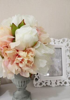 ピオニーのフラワーアレンジ(花器付き)芍薬トピアリー造花フレンチカントリーアンティーク雑貨輸入雑貨antiqueshabbychic