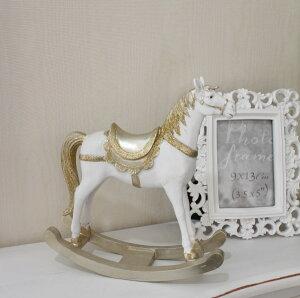 ゴールドラメの木馬のオブジェロッキングホース木馬置物フレンチカントリーアンティーク雑貨輸入雑貨antiqueshabbychic