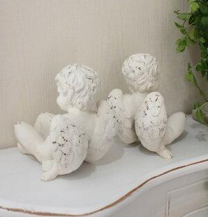 テラコッタ風エンジェルのペアオブジェ(2個セット)置物フレンチカントリーアンティーク雑貨輸入雑貨antiqueshabbychic