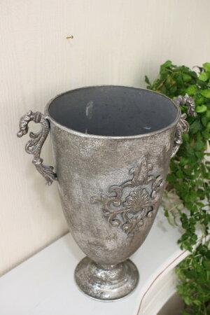 アンティークシルバーのシャビープランター(Lサイズ)コンポートフレンチカントリーアンティーク雑貨輸入雑貨antiqueshabbychic