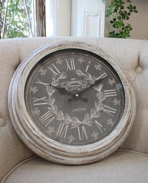 シャビーグレーのフレンチ掛け時計(ロンドンロゴ)アンティーク雑貨掛け時計ウォールクロックアンティーク風シャビーシックantique