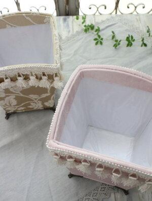 猫足の布張ダストボックス(ベージュフラワー・ベロアピンク)小型カルトナージュゴミ箱フリーボックスフレンチカントリーアンティーク雑貨輸入雑貨antiqueshabbychic