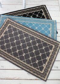 フレンチスタイル 玄関マット50×80(グレー・ブラック・ブルー)おしゃれ ラグ 滑り止め付き シック シャビーシック アンティーク風
