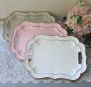 フレンチトレイ L (ホワイト ピンク グレー)アンティーク風 antique アンティーク ディスプレイトレイ フレンチトレー シャビーシッ…