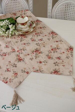 ☆大人気☆エレガントローズ撥水テーブルランナーセンター32×150Mサイズ薔薇レターパックOK