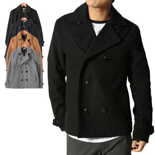 【あす楽対応】コート Pコート ショートコート ジャケット メルトン ウール アウター メンズ ブラック ネイビー グレー キャメル