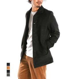 【あす楽対応】コート ステンカラーコート オーバーコート ミディアム 無地 メルトン ベーシック アウター メンズ ブラック キャメル グレー ネイビー
