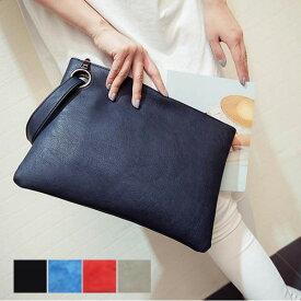 【あす楽対応】クラッチバッグ カジュアルバッグ A4サイズ ビッグクラッチ シンプル 無地 PUレザー フェイクレザー 鞄 バッグ 小物 レディース ブラック レッド ブルー グレー