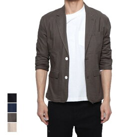 ジャケット サマージャケット ストレッチ テーラードジャケット 7分袖 クロップドスリーブ 七分袖 麻 薄手 ライトアウター アウター メンズ ベージュ ブラック カーキ ネイビー