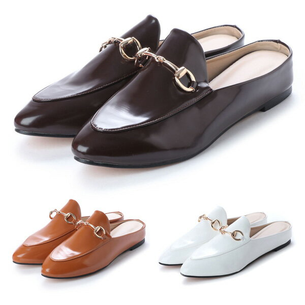 オックスフォード ローファー ポインテッドトゥ バブーシュ シューズ 靴 エナメル レディース ブラック ブラウン キャメル ホワイト