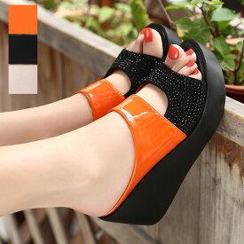 サンダル ミュール ビジュー バイカラー ウェッジサンダル ハイヒール オープントゥ 厚底 シューズ 靴 レディース ベージュ オレンジ ブラック
