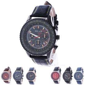 d70958d45e 【あす楽対応】腕時計 ビッグフェイス メンズ レザーベルト ユニセックス カジュアル ビジネス オフィス