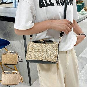 ショルダーバッグ ハンドバッグ 2WAY ストロー素材 かごバッグ 斜めがけ 小さい 無地 夏 バッグ 鞄 レディース ブラック カーキ