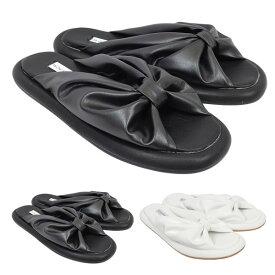 サンダル フラットサンダル ぺたんこ リボン 合皮 フェイクレザー 靴 シューズ レディース ブラック ホワイト