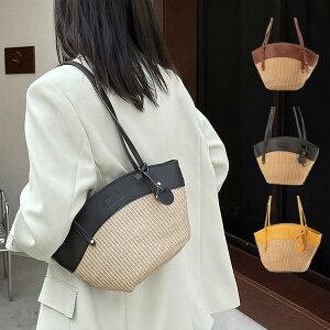 かごバッグ ショルダーバッグ PUレザー 合成皮革 切替 ストロー素材 小さめ 肩掛け 無地 夏 バッグ 鞄 レディース ブラウン イエロー ブラック