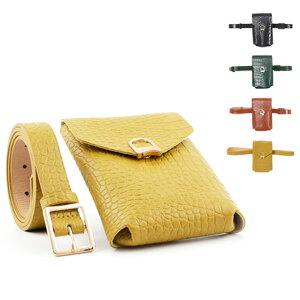 ベルト ウエストポーチ クロコダイル 型押し 合成皮革 レザータッチ 細い バッグ 鞄 レディース キャメル ネイビー グリーン イエロー