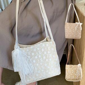 【あす楽対応】ショルダーバッグ スクエア型 ストロー素材 フラワー 刺繍 花柄 リボン 夏 バッグ 鞄 韓国 レディース ホワイト カーキ