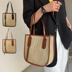 かごバッグ ショルダーバッグ PUレザー 合成皮革 切替 ストロー素材 小さめ 肩掛け 無地 夏 バッグ 鞄 レディース ブラック ブラウン