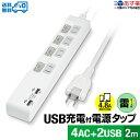 【あす楽対応・送料無料】STYLED USB2ポート合計4.8A出力 USB付電源タップ 雷ガード付 コンセント AC 4口 2m 18ヵ月保…