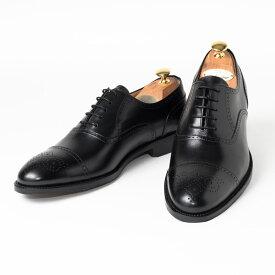 Cordwainer   コードウェイナー CALVERT ビジネスシューズ ビジネス 小さいサイズ 大きいサイズ 本革 皮靴 靴 内羽根 通気性 送料無料 交換無料 グッドイヤーウェルト 黒 ブラック ブラックボックスカーフ×レザーソール セミブローグ メンズ ストレートチップ
