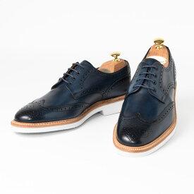 Cordwainer   コードウェイナー COWES ビジネスシューズ ビジネス 紳士 小さいサイズ 大きいサイズ 本革 皮靴 靴 通気性 外羽根 送料無料 交換無料 ブローグ ウイングチップ グッドイヤーウェルト 紺 ネイビー エルバカーフレザー×ラバーソール メンズ ウイングチップ