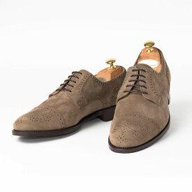 Cordwainer   コードウェイナー KANE ビジネスシューズ ビジネス 小さいサイズ 大きいサイズ 本革 皮靴 靴 内羽根 通気性 送料無料 交換無料 グッドイヤーウェルト ベージュ スエード パンチング カーフスエード×レザーソール セミブローグ メンズ ストレートチップ
