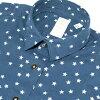 FINAMORE | Fina leaks; long sleeves navy casual neckband type GIULIA cotton twill star print-ready shirt