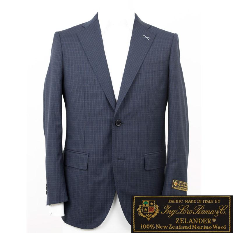 Style Edition|スタイルエディション Loro Piana ZELANDER ロロ ピアーナ ジランダー ウール ネイビー チェック サイドベンツ ジャケット