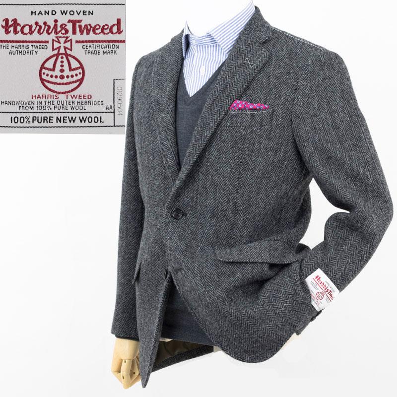 Style Edition|スタイルエディション Harris Tweed ハリスツイード グレー ヘリンボーン 2ボタン ジャケット
