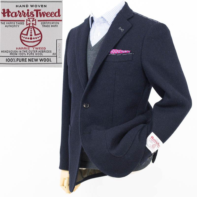Style Edition|スタイルエディション Harris Tweed ハリスツイード 無地ネイビー 2ボタンパッチポケット ジャケット