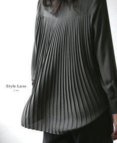 「styleluxe」品のある落ち感が素敵なバックプリーツブラウストップスブラウスプリーツバックプリーツブラックカーキレディースフリーサイズstyle【F181013】